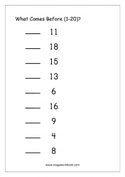 Ordering Numbers (1-20) - What Comes Before Number Worksheet