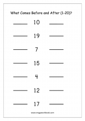 Ordering Numbers (1-20) Worksheet - What Comes Before And After Number