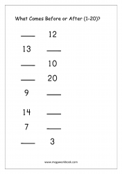 Ordering Numbers (1-20) - What Comes Before And After Number Worksheet