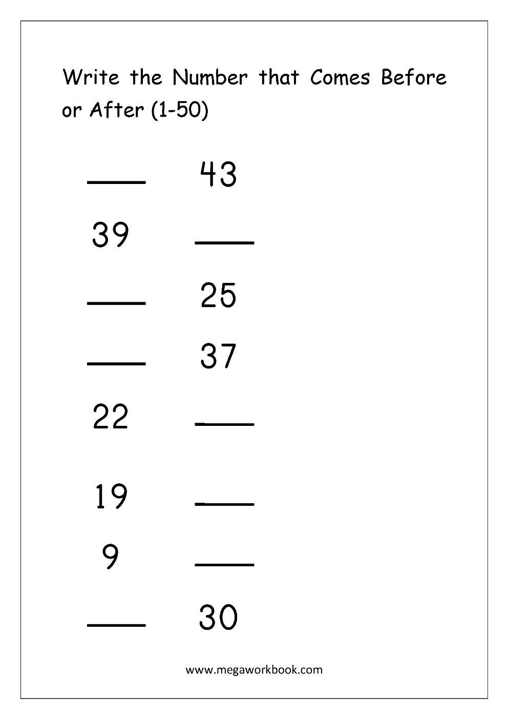 Ordering Numbers Worksheets Missing Numbers What Comes Before And After Number 1 10 1 20 1 50 1 100 Free Printables Megaworkbook