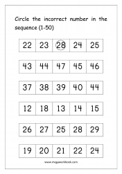 Ordering Numbers (1-50) Worksheet - Circle The Incorrect Number In Sequence