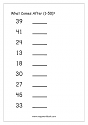Ordering Numbers Worksheet (1-50) - What Comes After Number