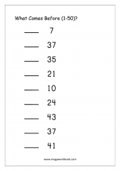 Ordering Numbers (1-50) - What Comes Before Number Worksheet