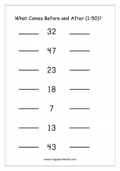 Ordering Numbers (1-50) - What Comes Before And After Number Worksheet