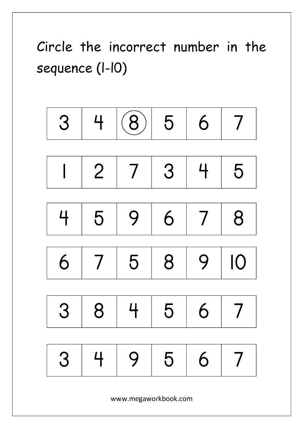 Workbooks sequencing numbers worksheets : Free Math Worksheets - Number Ordering and Missing Numbers ...