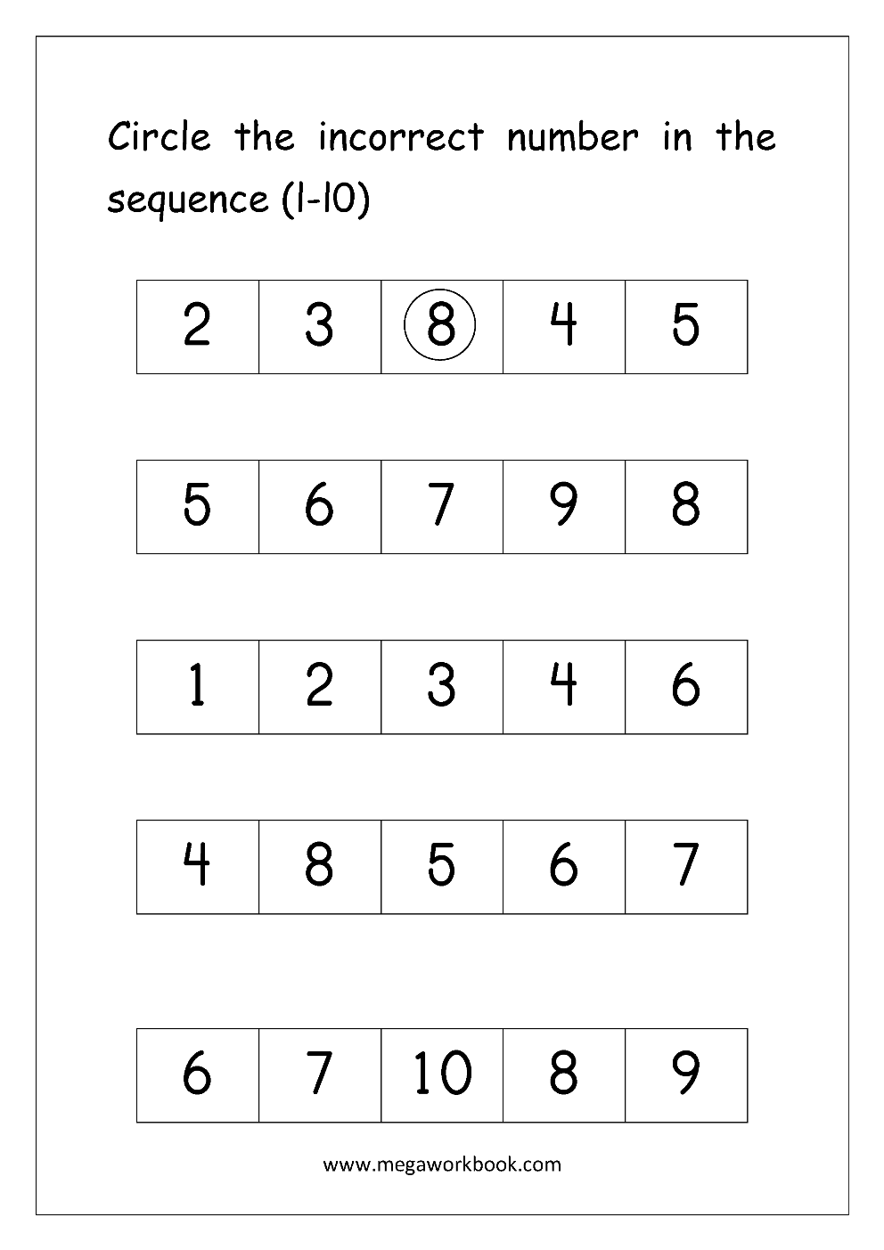 Ordering Numbers Worksheets, Missing Numbers, What comes before and after  Number (1-10, 1-20, 1-50, 1-100) - Free Printables - MegaWorkbook