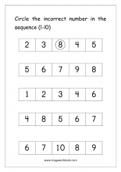 Ordering Numbers (1-10) Worksheet  - Circle The Incorrect Number In Sequence