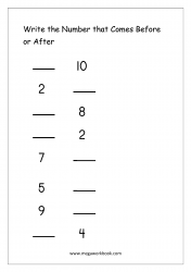 Ordering Numbers (1-10)  - What Comes Before And After Number Worksheet