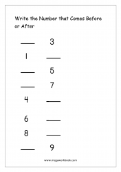 Ordering Numbers (1-10) Worksheet  - What Comes Before And After Number
