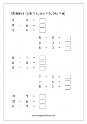 Printable Math Worksheet Subtraction (1-10) - Addition And Subtraction Fact Families