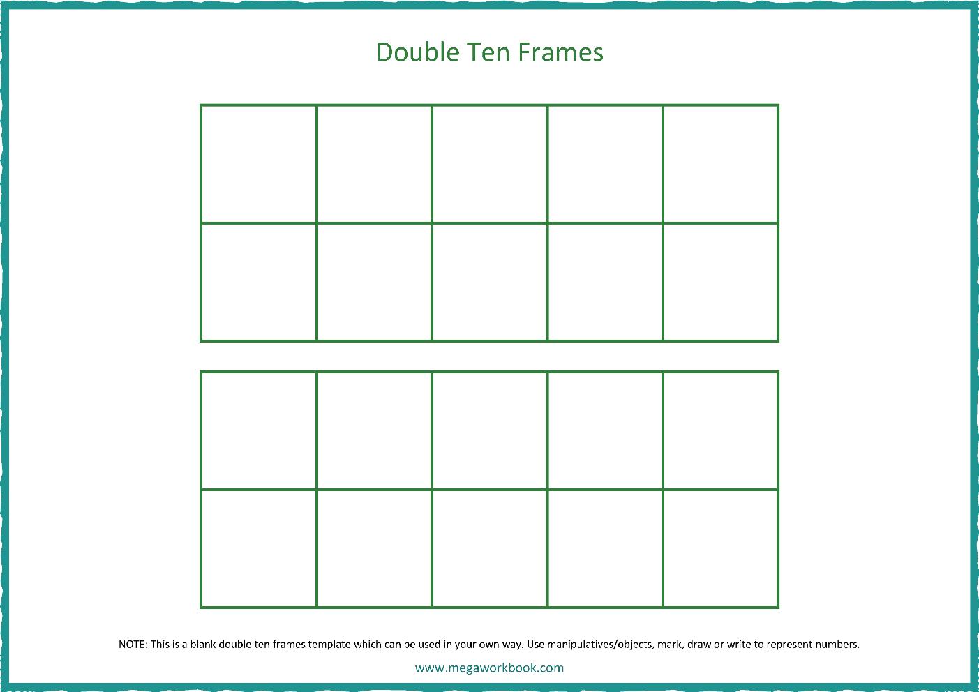 Ten Frame Template Blank Ten Frames Double Ten Frames Megaworkbook