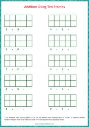 Ten Frame Worksheet - Addition 1 to 10 Using Ten Frames