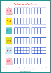 Ten Frame Worksheet - Addition 1 to 20 Using Ten Frames