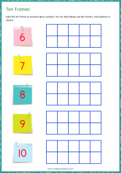 Ten Frame Worksheet - Counting - Represent Numbers 6 to 10