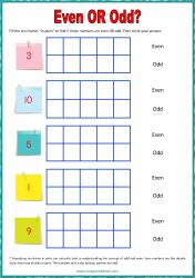 Ten Frame Worksheet - Even/Odd 1 to 10