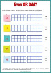 Ten Frame Worksheet - Even/Odd 11 to 20