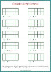 Ten Frame Worksheet - Subtraction 1 to 10 Using Ten Frames