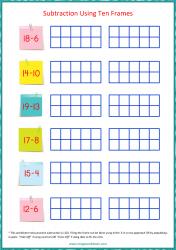 Ten Frame Worksheet - Subtraction 1 to 20 Using Ten Frames