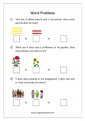 Math Addition Word Problems Worksheet - Solving Story Sums With Objects - Step by Step Examples
