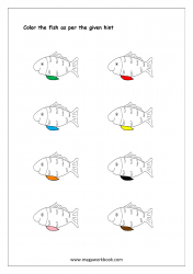Color Recognition Worksheet - Color The Objects Using Matching Color - Fish