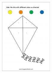 Color Recognition Worksheet - Color By Number - Kite