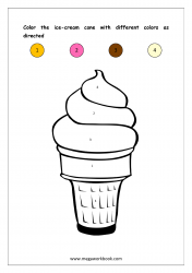 Color Recognition Worksheet - Color By Number - Ice Cream Cone