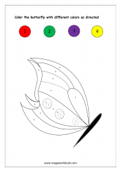 Color Recognition Worksheet - Color By Number - Butterfly