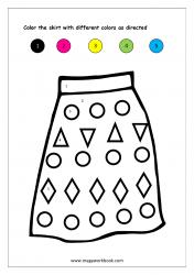 Color Recognition Worksheet - Color By Number - Skirt