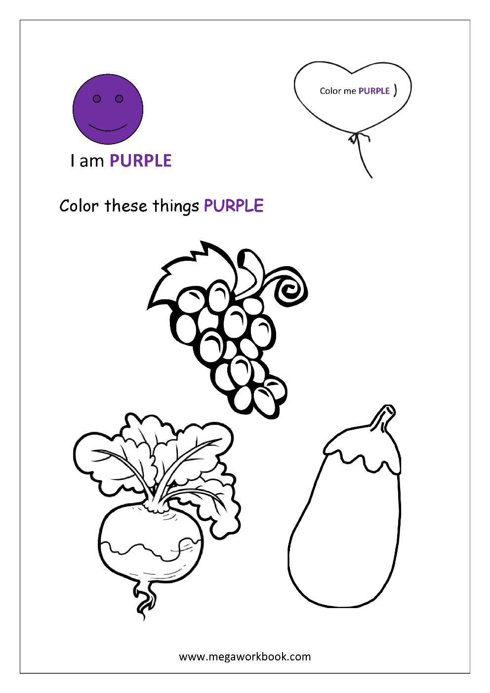 Preschool Worksheet Gallery: Preschool Color Purple ...