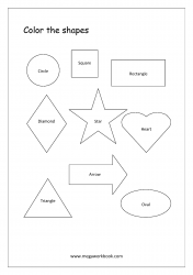 Basic Shapes Coloring Worksheets - Circle, Square, Rectangle, Triangle, Diamond, Star, Heart, Oval