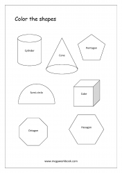 Advanced Shapes Coloring Worksheets - Cylinder, Cone, Pentagon, Hexagon, Cube, Octagon, Semi-Circle