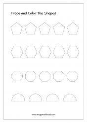 Shapes Tracing Worksheets - Tracing Pentagon, Hexagon, Octagon, Semi-Circle - Pre-writing Skills