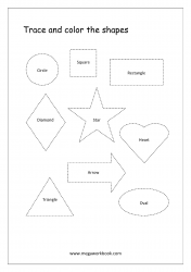 Shapes Tracing Worksheets - Simple/Basic Shapes - Circle, Square, Rectangle, Triangle, Diamond, Star, Heart, Oval