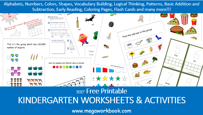 Kindergarten Worksheets - Free Printable Worksheets For Kindergarten -  MegaWorkbook