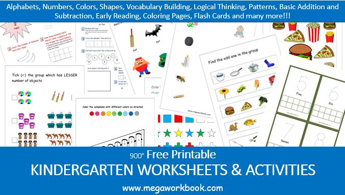 Kindergarten Worksheets - Free Printable Worksheets For Kindergarten -  MegaWorkbook