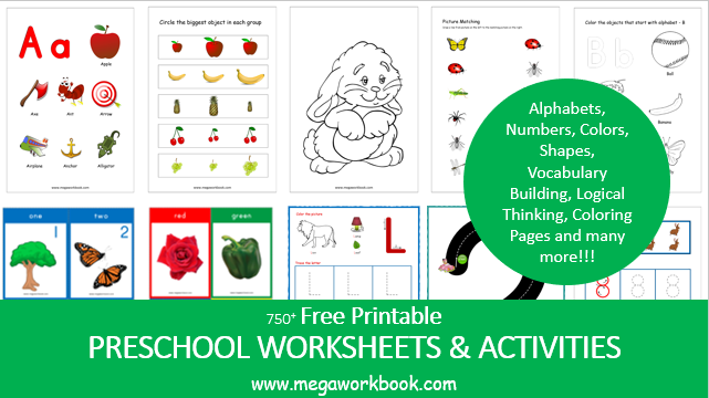 Preschool Worksheets - Free Printable Worksheets For Preschool -  MegaWorkbook